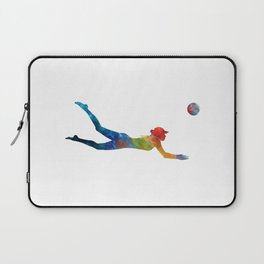 Woman beach volley ball player 01 in watercolor Laptop Sleeve