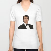 napoleon V-neck T-shirts featuring Napoleon Solo by Grace Teaney Art