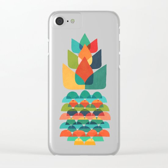 Colorful Whimsical Ananas Clear iPhone Case