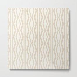 Pastel White Cream Linen Geometric Pattern Metal Print