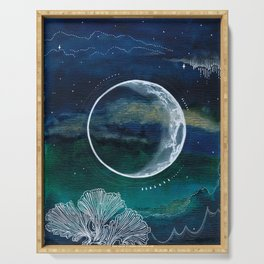 Crescent Moon Mixed Media Painting Serving Tray