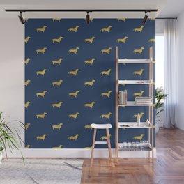 Navy/Gold Dachshund Pattern Wall Mural