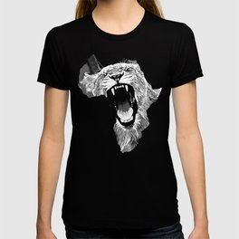 african lioness safari cat v2 vector art black white T-shirt