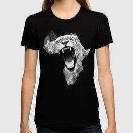 african lioness safari cat v2 vector art black white T-shirt