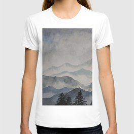 foggy landscape watercolor T-shirt