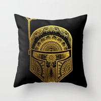 gold foil Throw Pillows featuring Mandala BobaFett - Gold Foil by Spectronium - Art by Pat McWain