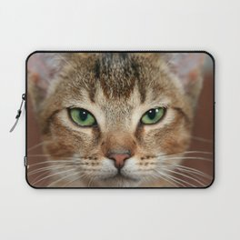 Face of Brown Cat Laptop Sleeve