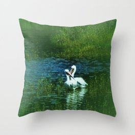 White Pelican Love Throw Pillow