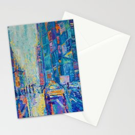 Streets of New York - palette knife urban city landscape by Adriana Dziuba Stationery Cards