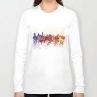 liverpool Long Sleeve T-shirts featuring Liverpool skyline in watercolor background by Paulrommer