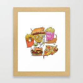 Cats & Junk Food Framed Art Print