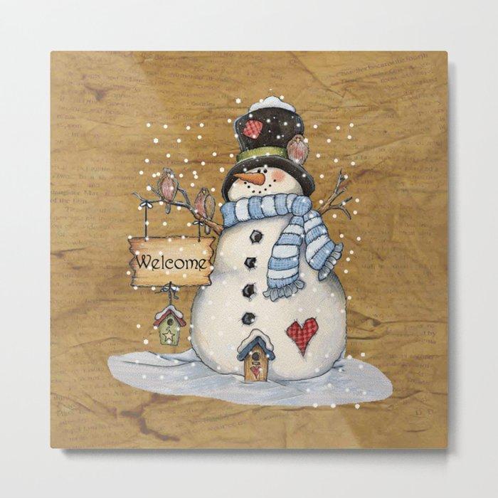 Folk Art Snowman Christmas Metal Print