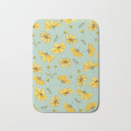 Yellow Cosmos Flower Pattern, Teal Colorway Bath Mat