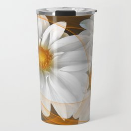 Flowers White Black Orange Travel Mug
