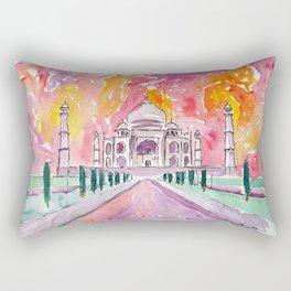 Taj Mahal - Colorful Crown of the Palace and Love Rectangular Pillow