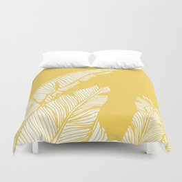 Banana Leaves on Yellow #society6 #decor #buyart Duvet Cover