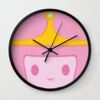 princess bubblegum Wall Clocks featuring Princess Bubblegum by Expired Kimchi