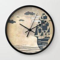 ship Wall Clocks featuring Ship by Emily Rose Scott