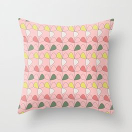 Vintage Leaves pink Throw Pillow