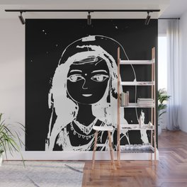 Indian girl black-white drawing Wall Mural