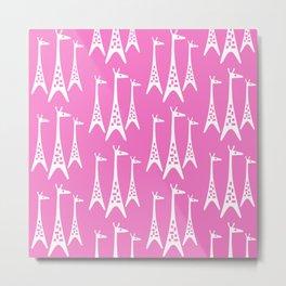 Mid Century Modern Giraffe Pattern 221 Pink Metal Print