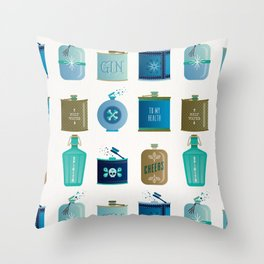 Flask Collection – Blue and Tan Palette Throw Pillow