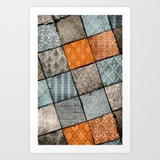 Vintage Material Quilt Art Print