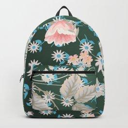 Green Flowers Pattern Backpack