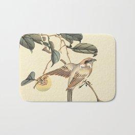 Vintage brown ivory bird floral tree branch Bath Mat