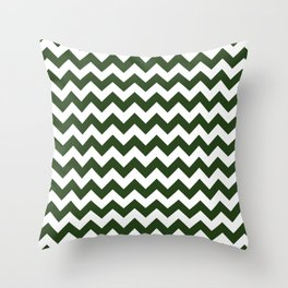 Large Dark Forest Green and White Chevron Stripe Pattern Throw Pillow