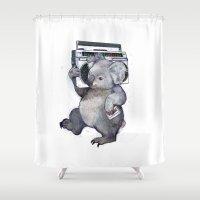 koala Shower Curtains featuring koala  by Laura Graves