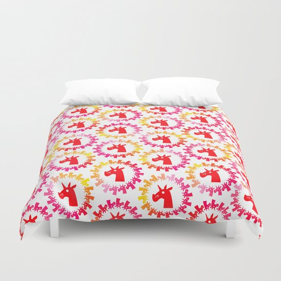 Color Me Red Unicorn Duvet Cover