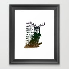 Hipster Cat giving Smart Advice Framed Art Print