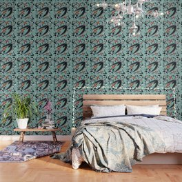 Swallows Martins and Swift pattern Turquoise Wallpaper