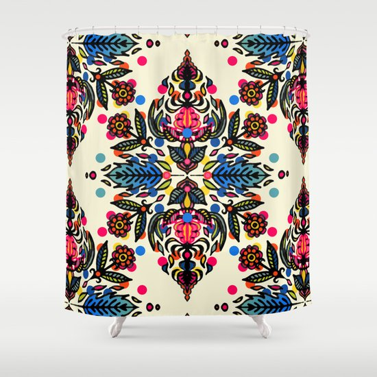 Bright Folk Art Pattern - hot pink, orange, blue & green Shower Curtain