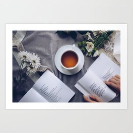 Coffee, Flowers & Poetry For Me, Please Art Print