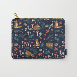Fox and Hedgehog in Toadstool Woods In Blue Carry-All Pouch