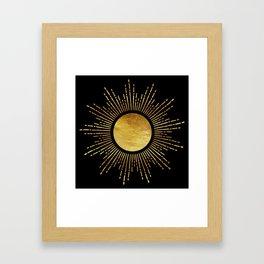 Golden Sunburst Starburst Noir Framed Art Print