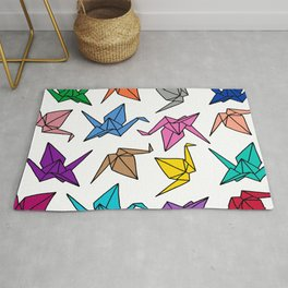 Origami Cranes Colorful Palette Rug