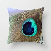 peacock feather Throw Pillows featuring Peacock feather by Hannah