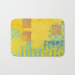 Yellow & Turquoise Abstract Art Collage Bath Mat