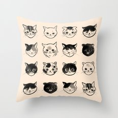 Cats Hair Styles Throw Pillow