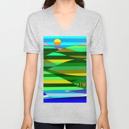 Mountain and Lake Quilted Unisex V-Neck