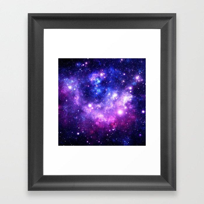Purple Blue Galaxy Nebula Gerahmter Kunstdruck
