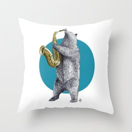 saxophone bear Throw Pillow