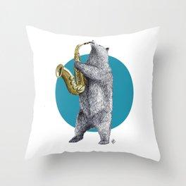 saxophone bear Throw Pillow
