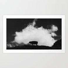 cow and cloud Art Print