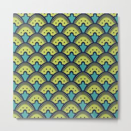 Fan Pattern Chartreuse Blue and Turquoise 991 Metal Print