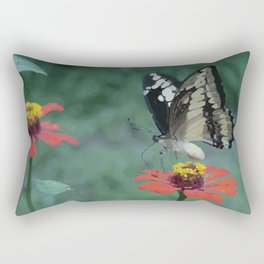 Butterfly on red Flower Rectangular Pillow