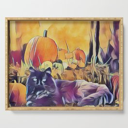 Black Cats & Pumpkins Serving Tray